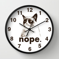 NOPE - Grumpy cat. Wall Clock by John Medbury (LAZY J Studios)