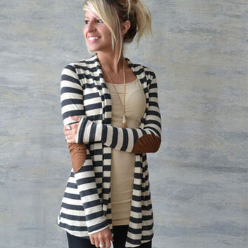 Black and White Striped Elbow Patching PU Leather Long Sleeve Knitted Cardigan Slim Spring Autumn Women Sweater