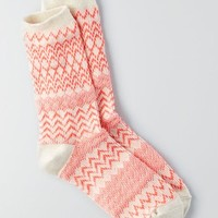 AEO Women's Patterned Crew Socks (Pink)