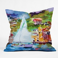 Ginette Fine Art Sailing Past Vernazza Italy Throw Pillow