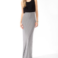 Flounced Vertical Striped Dress