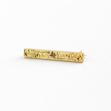 Antique 14k Yellow Gold Petite Flower Bar Pin - Vintage Art Nouveau Small Early 1900s Edwardian Tiny Floral Brooch Fine Jewelry