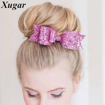 30f3dc2ce 2 Pcs/lot 4.5'' Fashion DIY Bling Glitter Hair Bow Hairpins For