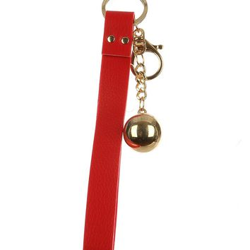 Red Faux Leather Strap Bag Accessory Key Chain