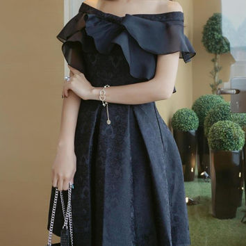 Black Jacquard Off Shoulder Ruffle Box Pleat Skater Dress