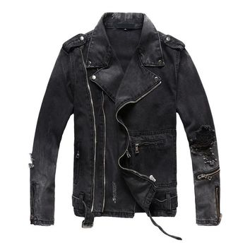 MORUANCLE New Fashion Hi Street Mens Ripped Denim Jackets With Multi Zippers Streetwear Distressed Motorcycle Biker Jeans Jacket