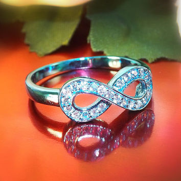 Turquoise Ring. Infinity Ring. Turquoise Engagement Ring. Turquoise Finish Sterling Silver Promise Ring. Diamond CZ Engagement Ring.Size 6
