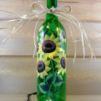 Sunflower Lighted Wine Bottle Green Hand Painted 750 ml