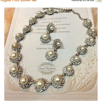 Bridal jewelry,bridesmaid jewelry set, pearl jewelry, wedding jewelry, bridal necklace, maid of honor jewelry, Victorian pearl necklace