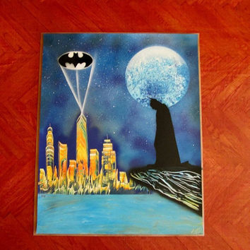 "batman spray paint art,batman poster,batman home decor,superhero wall art,batman gifts,superhero wall decor,large,comic art, 24""*30"","