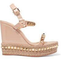 Christian Louboutin - Cataclou 120 studded patent-leather wedge sandals