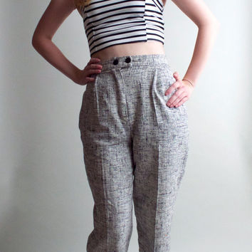 ON SALE Black White High Waist Wool Trouser Pants Tailored pleated Classic Tapered Abstract Houndstooth Boyfriend Preppy Minimalist