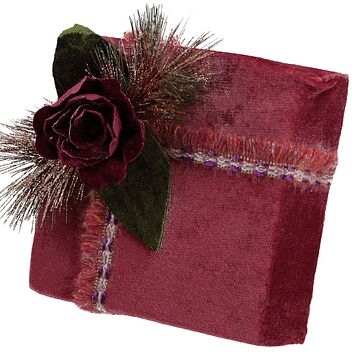 "8"" Nature's Luxury Dark Rose Floral Accent Christmas Gift Box Decoration"
