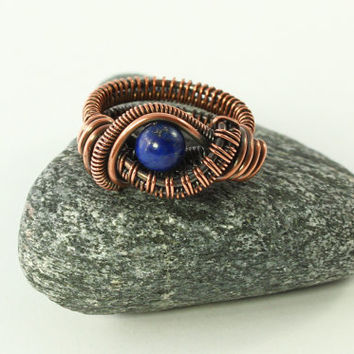 Blue Lapis Lazuli Ring, Blue Eye Ring, Size 5, Copper