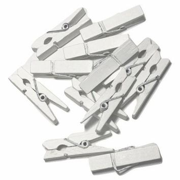 "White mini 1 3/8"" clothespins"