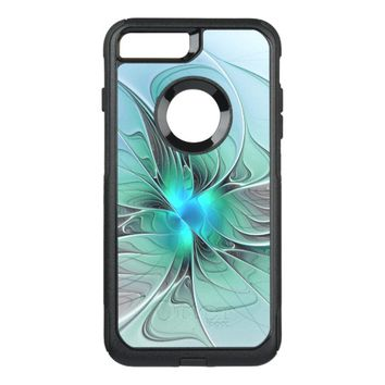 Abstract With Blue, Modern Fractal Art OtterBox Commuter iPhone 7 Plus Case