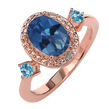1.77 Ct Mystic Topaz Swiss Blue Topaz 18K Rose Gold Plated Silver Ring