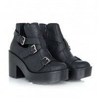 Missguided - Cecily PU Cut Out Block Heel Ankle Boots