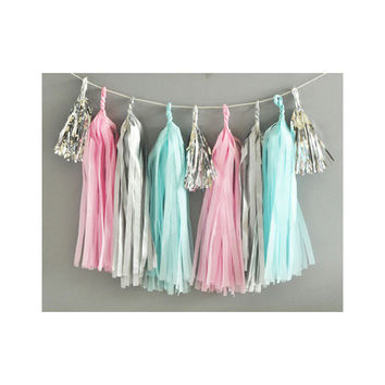Paper Garland & Metallic Mini Tassels - 20 Tassel DIY Kit - Candy Pink Light Blue Silver Foil - Wedding Decor Party Bridal Shower Birthday