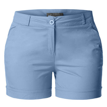 LE3NO Womens Plus Size Casual Cotton Chino Shorts with Pockets