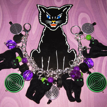 Black Cat Charm Bracelet Halloween Jewelry OOAK Voodoo Zombie Kitties Vintage Style Eclectic Statement Piece