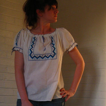 Vintage 1970s Hippie Peasant blouse Blue & by JunkStoreAddict