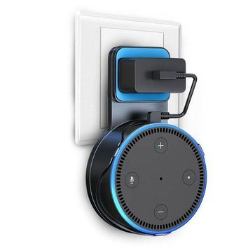 ONETOW Wall Mount Stand For Echo Dot 2nd Generation, V-Techology Hanger Holder With Charging Cable For Dot, A Space-Saving Solution for Your Smart Home Speakers without Messy Wires or Screws (Black)