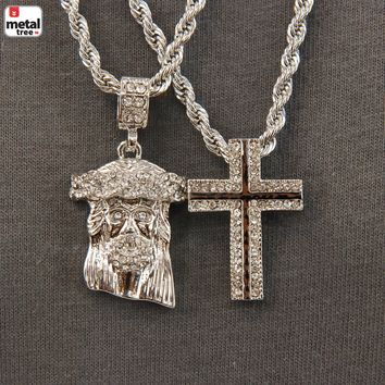 """Jewelry Kay style Men's G/ S Plated Double Pendant Jesus & Cross 24"""" & 30"""" Chain Necklace MHC 04"""