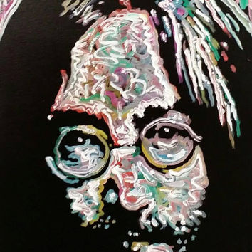 Colorful Pop Art Painting 16x20 John Lennon The Beatles Art Original Oil Painting Rainbow Colors Art Colorful Art Hippie Decor Peace Art