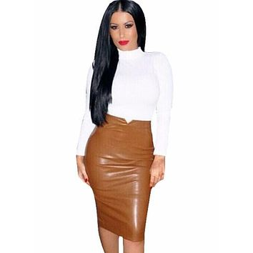Women Pu Leather Skirt Autumn Streetwear Casual Office Work Wear Bodycon Pencil Skirt High Waist Long Velvet Skirts