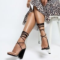 Boohoo Clear Strap Lace Up Heeled Sandal at asos.com