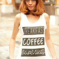 Breakfast Coffee Cupcakes Shirt Women Tank Top T-Shirt Motivational Workout Tank Racerback Top Singlet