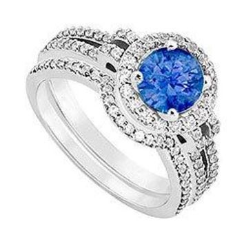 14K White Gold Blue Sapphire & Diamond Engagement Ring with Wedding Band Sets 1.15 CT TGW