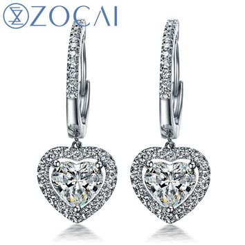 ZOCAI EARRINGS 0.70 CT CERTIFIED I-J / SI DIAMOND DROP EARRINGS JEWELRY LEVERBACK ROUND CUT 18K WHITE GOLD E00898