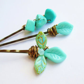 Teal Leaves & Pebbles Hipppie Beaded Bobby Pins Set of 3 Hair Accessories
