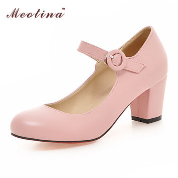 Meotina Women Shoes Mary Jane Ladies High Heels White Wedding Shoes Thick Heel Pumps Lady Shoes Black Pink Beige Plus Size 43 10