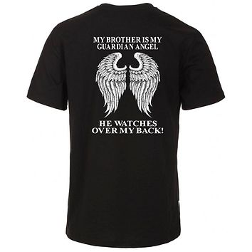 Guardian Angel Wings Plus Size T Shirt. My Brother Watches Over My Back Unisex Tee Shirt