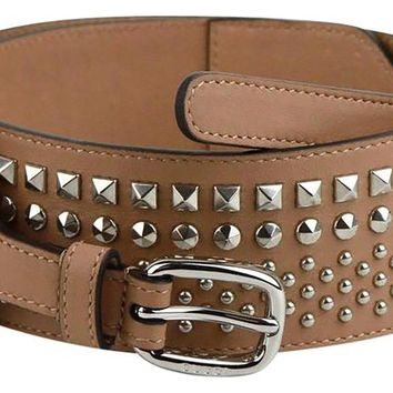 Gucci Women's Studded Camelia Beige Leather Belt 388985 Size: 100/40