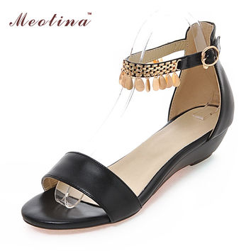 Meotina Summer Women Wedge Sandals Tassel Shoes Ankle Strap Low Heels Shoes Women Open Toe Wedges Pink White Purple Size 42 43