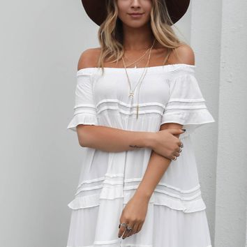 Lift Me Up White Oversized Tassel Dress