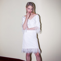 Casual White V-Neck Fringed Feather Mini Dress