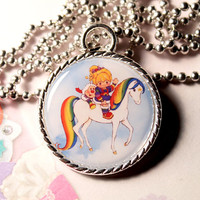 Rainbow Brite and Starlight 80s Retro Cameo Necklace