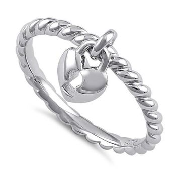 Romantic Locked Heart Dangle .925 Sterling Silver Ring