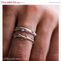 HOLIDAY SALE Silver Branch Ring & Twig Ring Set | Stacking Rings | Nature Inspired Rings
