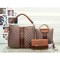 Perfect Gucci Women Shopping Bag Leather Tote Handbag Shoulder Bag Three Piece Set