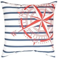 Manual Climaweave Indoor/Outdoor Square Decorative Throw Pillow, 18-Inch, Nautical Flags