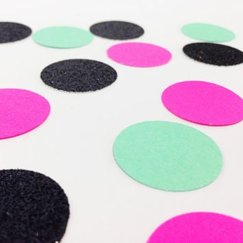 "150 Mint Green / Black Glitter / Neon Pink Confetti - 1 Inch - 1"" - Confetti for weddings, birthdays, parties and more!"