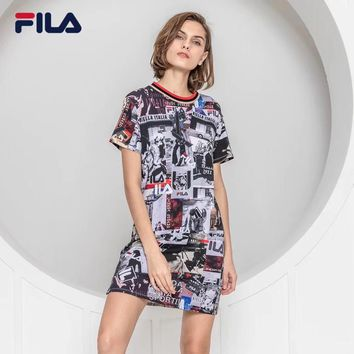 """Fila"" Women Casual Fashion Rome City Print Short Sleeve T-shirt Dress"