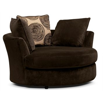 Cordoba Chocolate Upholstery Swivel Chair - Value City Furniture