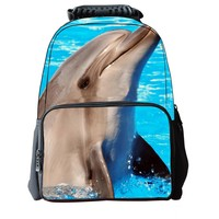MapleClan Unisex School Backpack Bags 3D Animal Print Felt Fabric Hiking Daypacks (dolphin)
